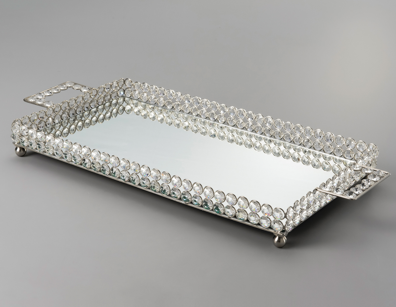 Bandeja retangular de cristal com espelho 45x25cm wolff - Bandejas de cristal ...