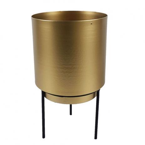 cachepot dourado com suporte preto 13x22