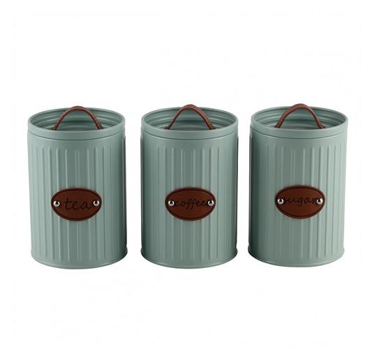 jogo 3 potes mantimentos lata cinza com tampa de ferro e detalhe de couro