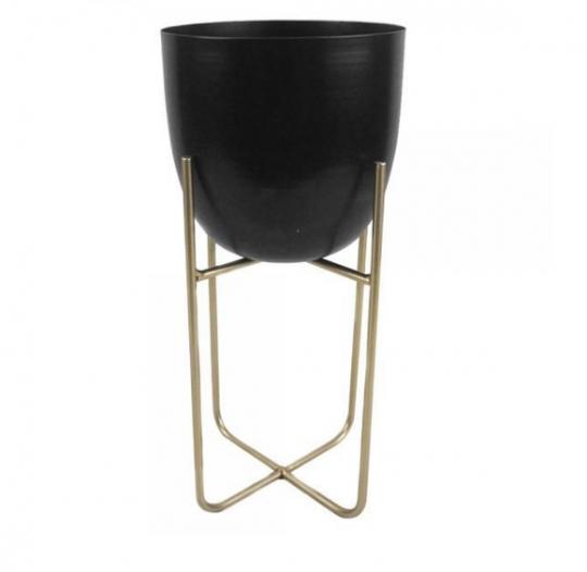 cachepot preto suporte dourado 31x14cm