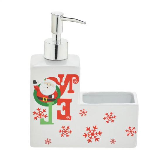 porta detergente com espaço para bucha motivo natal