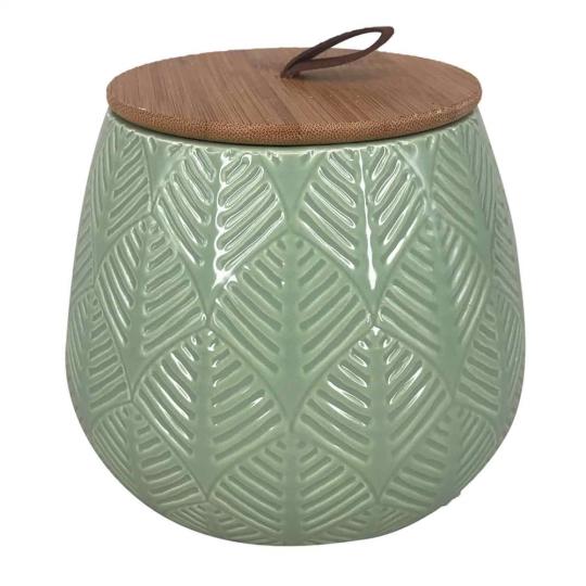 pote de cerâmica verde com tampa de madeira pequeno
