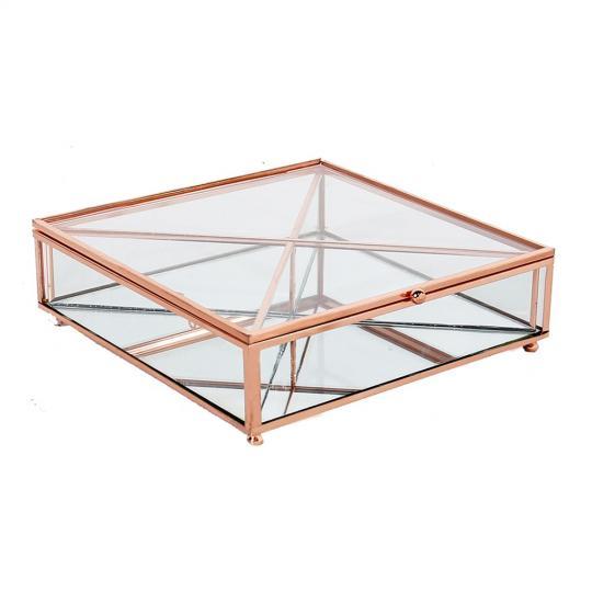 caixa de vidro e metal rose para especiarias de gin quadrado