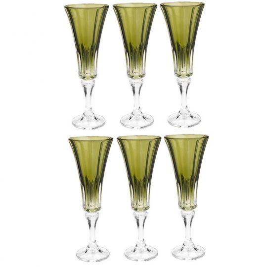 jogo 6 taças champanhe wellington verde 180ml bohemia