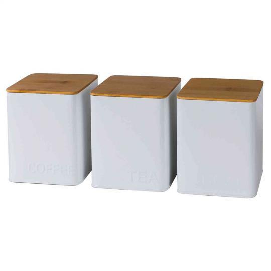 jogo 3 porta mantimentos lata branco com tampa de madeira