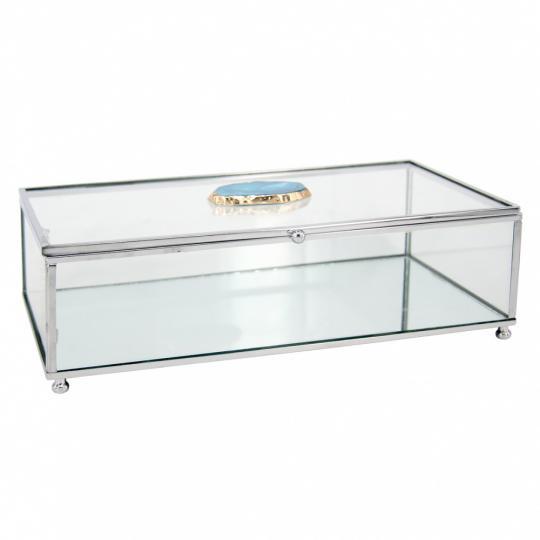 caixa de vidro retangular com pedra de ágata azul