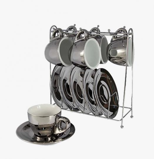 jogo 6 xícaras de cafe chrominno prata com branco com suporte lhermitage