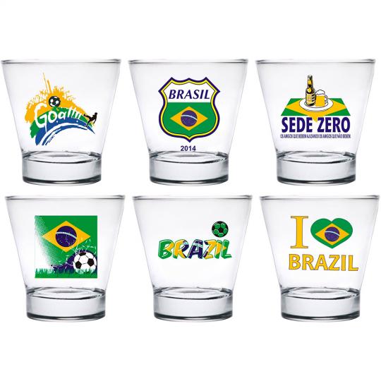 conjunto 6 copos caipirinha brasil