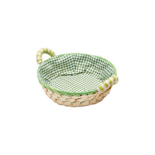 cesta palha redonda verde 23x7,5cm bon gourmet