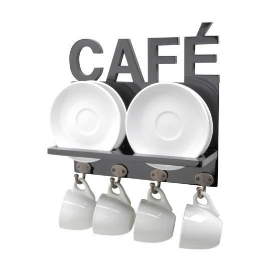 suporte de madeira preto para xícara de café woodart