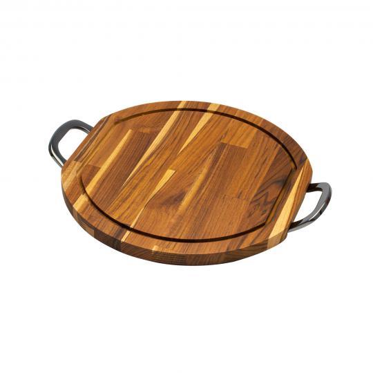tabua redonda em madeira com alça queens 38cm woodart