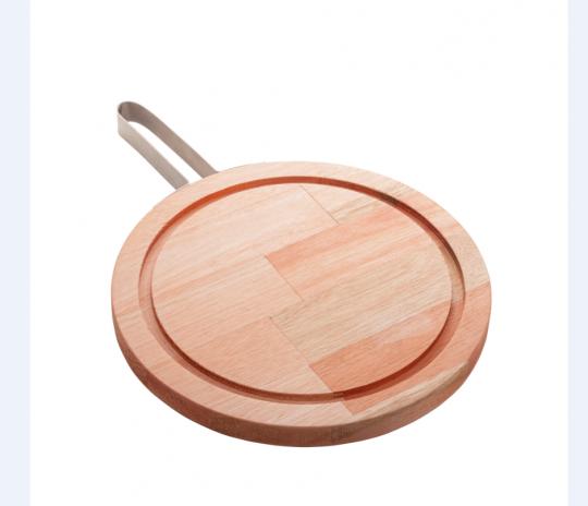 tábua redonda madeira com alça inox 28 cm woodart