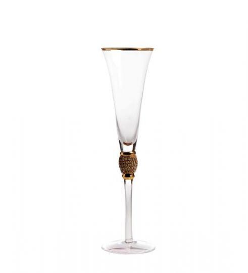 jogo 2 taças champanhe com strass dourado cromus