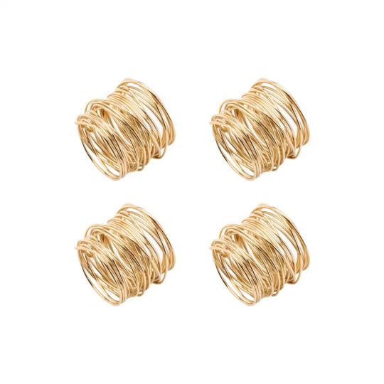jogo de 4 porta guardanapos espiral dourado lyor