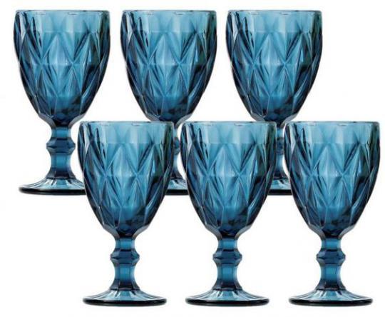 jogo de 6 taças diamond azul 325ml  lyor /,