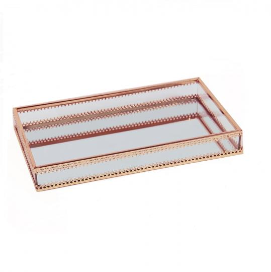 bandeja vidro metal cobre pequena 24x14cm