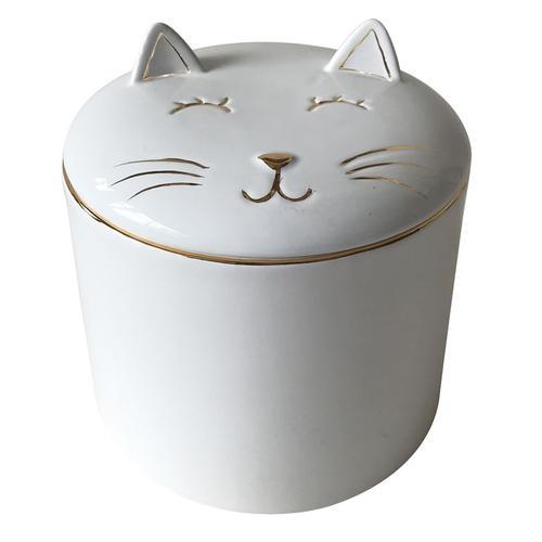pote ceramica gato branco com dourado grande