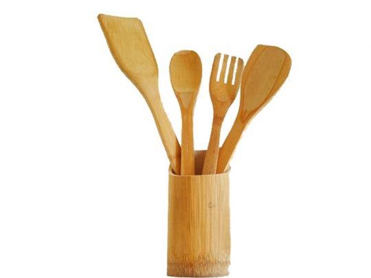 kit talher bambu com suporte ke home
