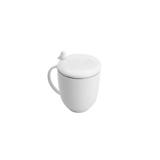 caneca de chá em porcelana branca com tampa e infusor birds