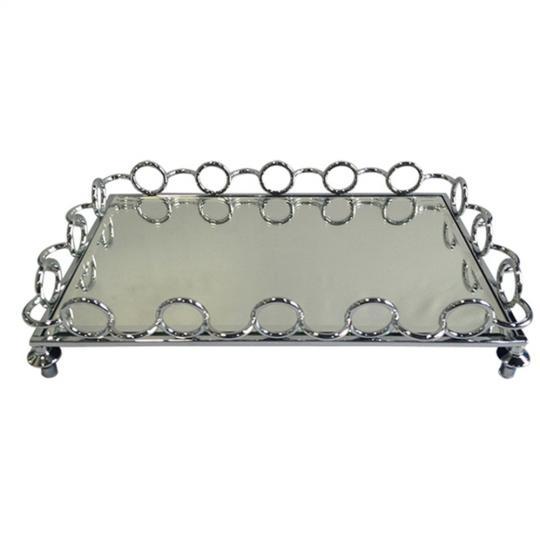 bandeja espelhada argolas 41x27cm cromada