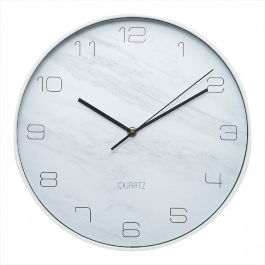 relogio de parede marble branco 31cm