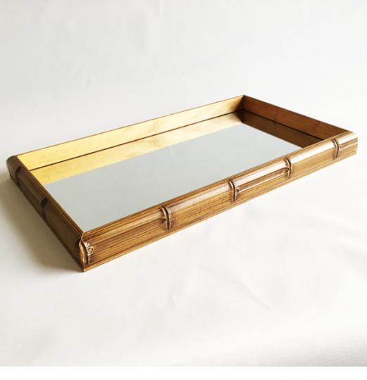 bandeja retangular bambu espelho 60x35cm lhermitage