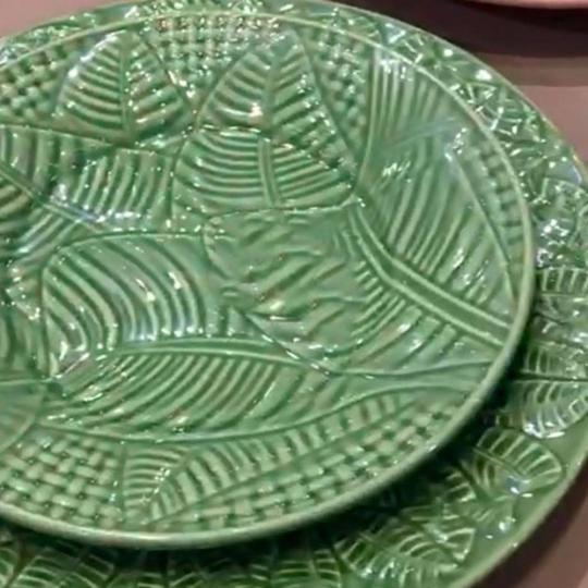jogo de 6 pratos de sobremesa leaves verde porto brasil