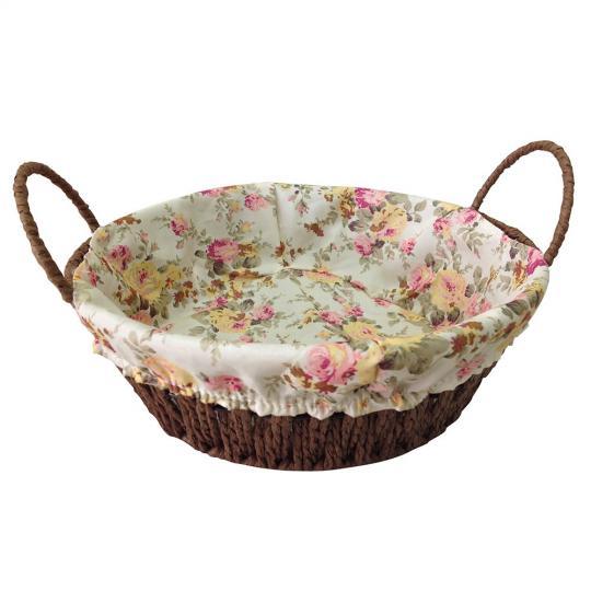 cesta redonda fibra e tecido rosa 24,5x7,5 cm dynasty