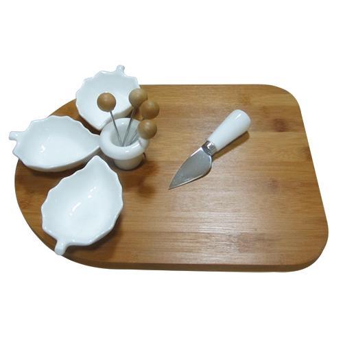 petisqueira tabua e 3 bowls folha dynasty