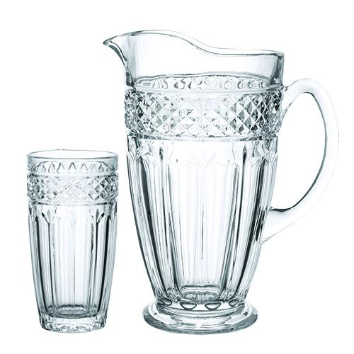 jogo de jarra com 6 copos clássica l hermitage