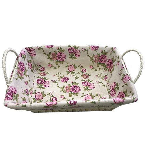 cesta retangular fibra e tecido rosa  26x19x8cm  dynasty