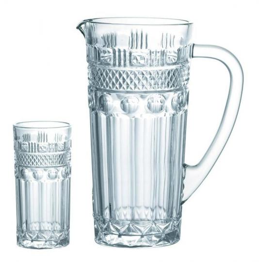 jogo 6 copos e jarra clássica lhermitage