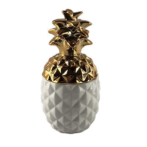 abacaxi porcelana para decoração branco e dourado lhermitage