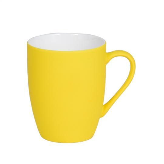 caneca soft touch amarela 350ml