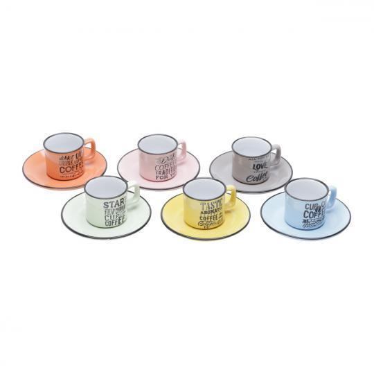 jogo de 6 xícaras cafe words color bon gourmet