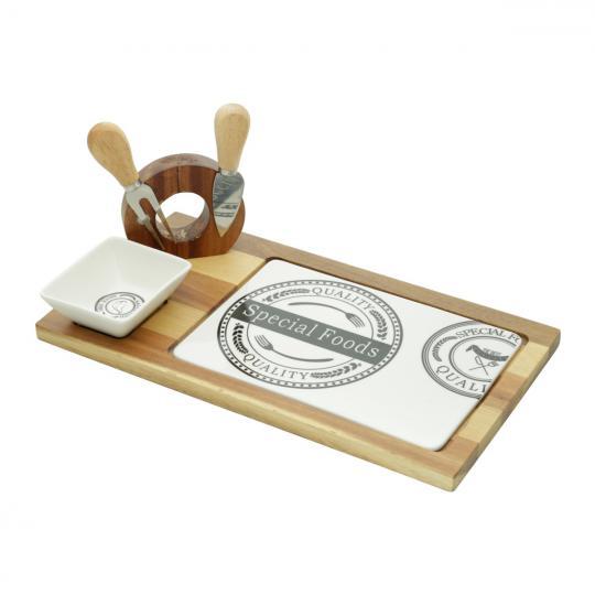 jogo tabua de queijo madeira 4 peças bon gourmet