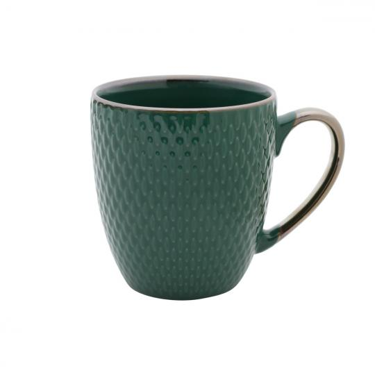 caneca porcelana verde 400ml bon gourmet