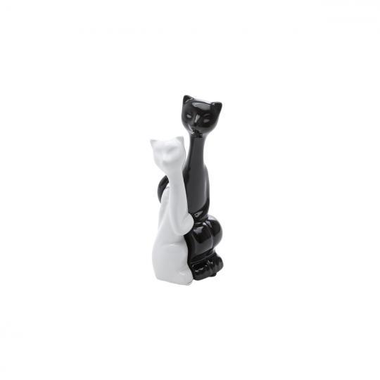 casal de gatos em cerâmica preto/branco
