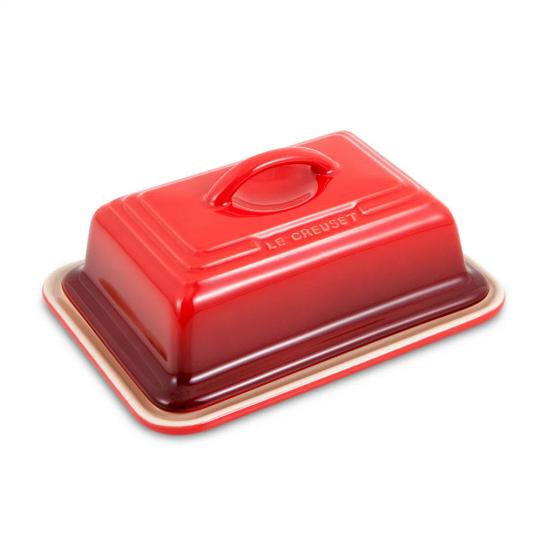 manteigueira retangular vermelha le creuset