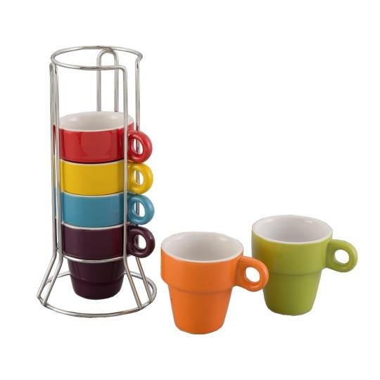 conjunto 6 xícara cafe color c/ suporte bon gourmet