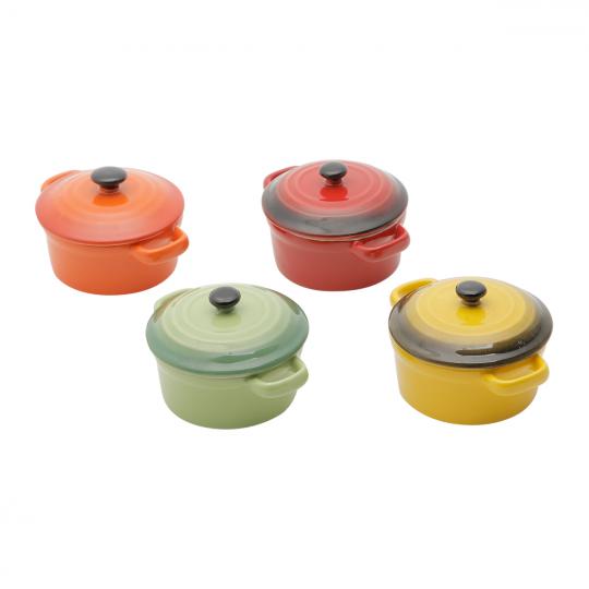 jogo 4 mini caçarolas redonda porcelana color bon gourmet