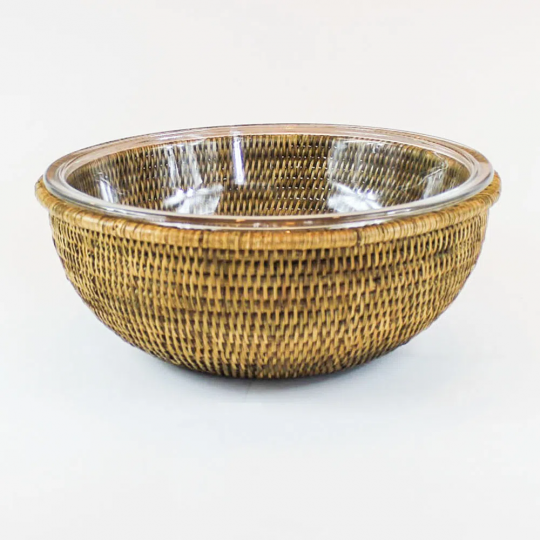 bowl redondo 31cm em vidro maya rattan