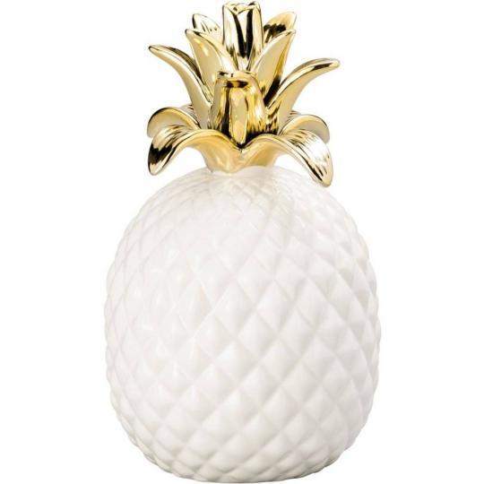 abacaxi decorativo em ceramica branco com dourado pequeno