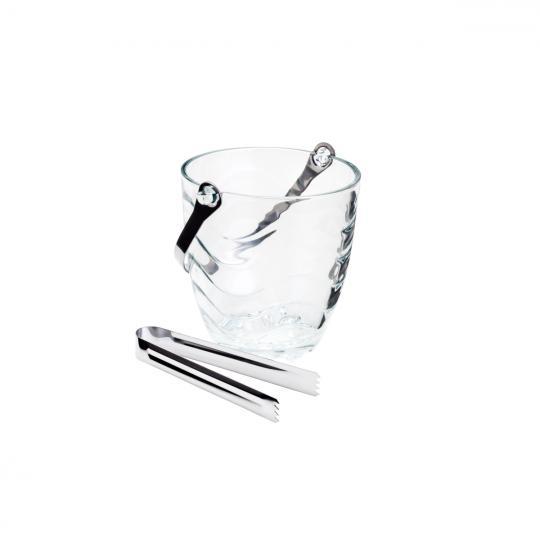 balde de gelo ondas em vidro com alça e pegador