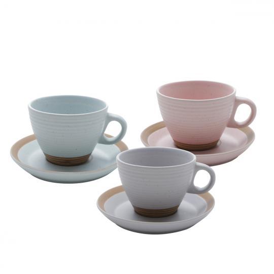 jogo de 6 xícaras de chá romance color bon gourmet