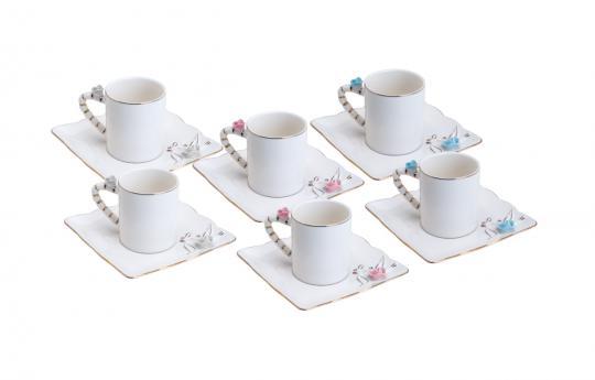 jogo 6 xícaras de café flower square color wolff