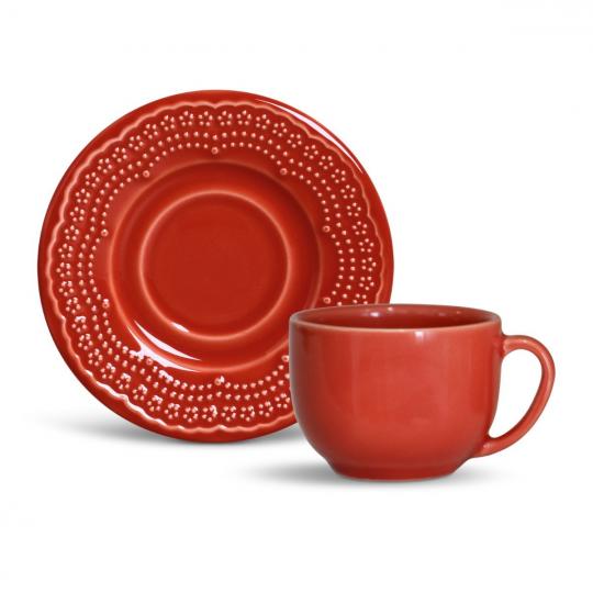 jogo de 6 xícaras chá madeleine vermelha porto brasil