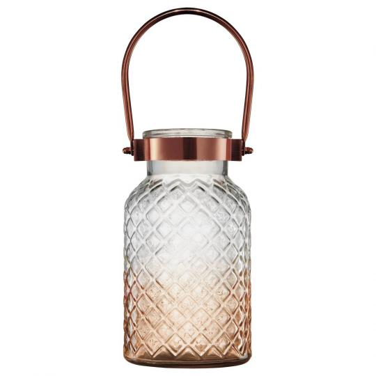vaso em vidro âmbar com alça de metal