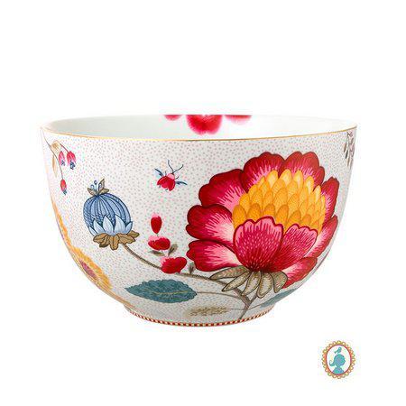 tigela floral fantasy branca 23cm pip studio