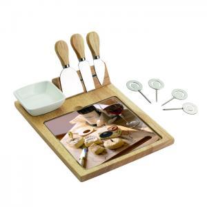 kit com tabua e facas para queijo incasa